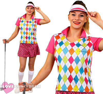 Ladies Golfer Costume Golfing Fancy Dress Pub Golf Hen Party Adult Sport Uniform • 19.99£