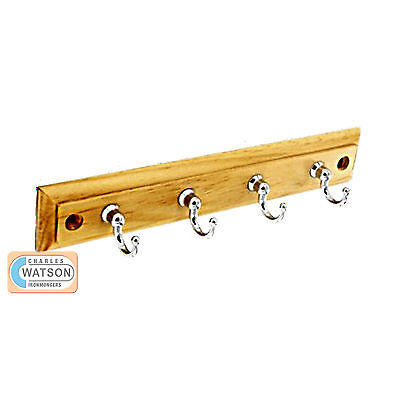 220mm 4 HOOKS ON PINE PLAQUE Wooden Coat Hat Rack Single Chrome Plated • 7.59£