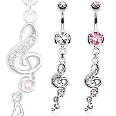 Surgical Steel Paved Gem Treble Clef Belly Bar With Dangle Music Note • 3.69£