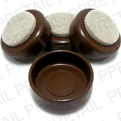 4 X SMALL BROWN CASTOR CUPS FELT FURNITURE Chair/Floor Protectors Padded Caster • 2.85£