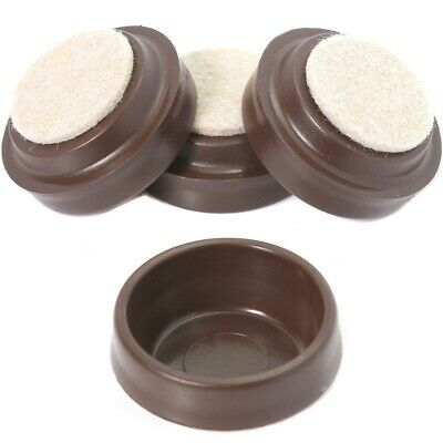 4 X SMALL BROWN FELT PADDED CASTOR CUPS Sofa/Chair Furniture Floor Protectors • 2.80£