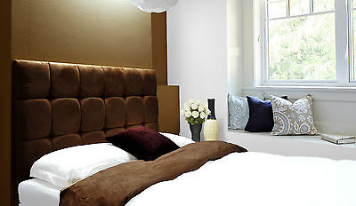 £43.20 • Buy Java Buttoned Diamante Wall Headboard Faux Suede Cappuccino Chocolate Brown Choc
