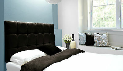 Java Buttoned Diamante Wall Headboard Faux Suede Charcoal Grey All Sizes • 57.10£