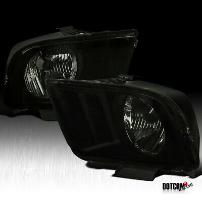 $87.99 • Buy For 2005-2009 Ford Mustang Black Smoke Front Headlights Head Lights Lamps Pair
