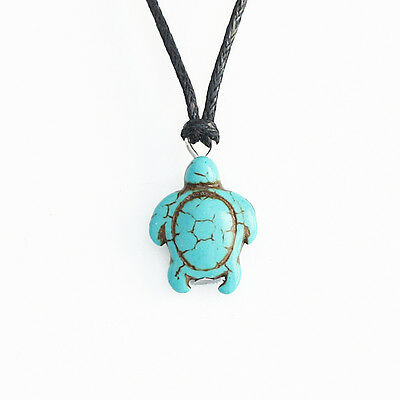AU4.99 • Buy Turquoise Turtle Charm Pendant Choker Necklace With Black Cord
