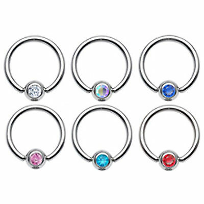 Gem Ball Captive Bead Closed Ring 316L Surgical Steel Lip Ear   • 2.29£
