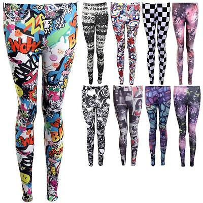 Ladies Floral Checkered Cartoon Knitted Leaf Printed Women's Comfy Leggings • 5.99£
