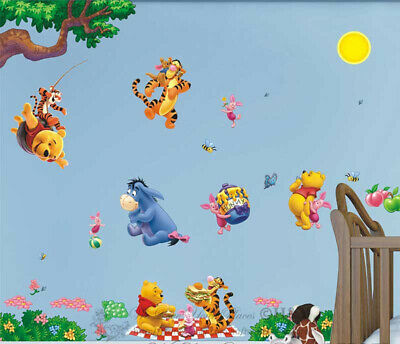 Winnie The Pooh Wall Stickers Kids Nursery Decor Baby Cot Decor Art Mural Gift • 10£