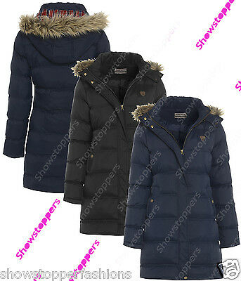 NEW PADDED Womens HOODED WINTER COAT Ladies Jacket Size 6 8 10 12 14 Parka Fur • 26.95£