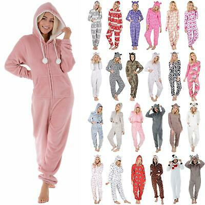 New Ladies Fleece All In One Piece Pyjamas Jump Sleep Suit PJs Nightwear • 21£