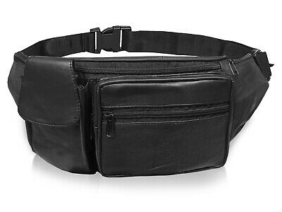 £5.97 • Buy Extra Large Leather Bumbags Black Leather Bum Bag XL Extends 52 Inch WAIST Size