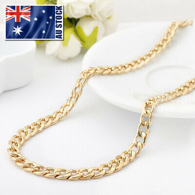 AU14.99 • Buy 18K Gold Filled Ladies Mens 7MM Classic Solid Curb Chain Necklace 20  Stunning