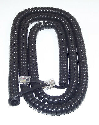 £4.99 • Buy EXTRA LONG Black Coiled Curly Telephone Handset Cord (25 Foot / 7.6m) RJ10 4P4C