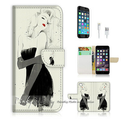 AU12.99 • Buy ( For IPhone 6 / 6S ) Wallet Case Cover! Girl In Black Dress P0001