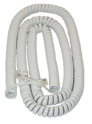 £4.99 • Buy EXTRA LONG WHITE Coiled Curly Telephone Handset Cord (25 Foot / 7.6m) RJ10 4P4C