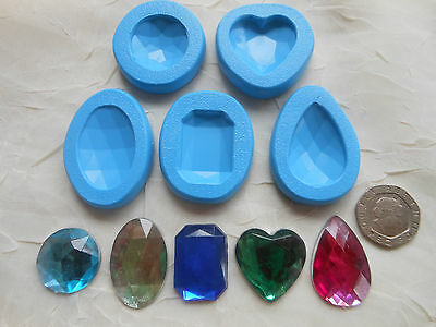 1x Sugarcraft/Fimo MOULD:  Larger Diamond/Jewel/Gems/Bling (20-30mm) Resin Clay • 3.85£