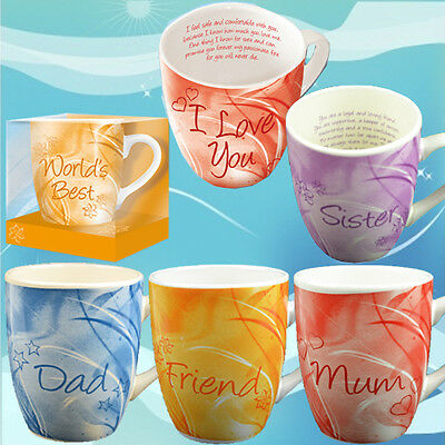 Ceramic Mug Gift Box Set With Poem Message Tea Coffee Fine China Mugs Xmas Cup • 3.99£