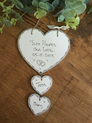 Hanging Heart Personalised Wedding Engagement Anniversary Gift Plaque Sign  • 6.99£