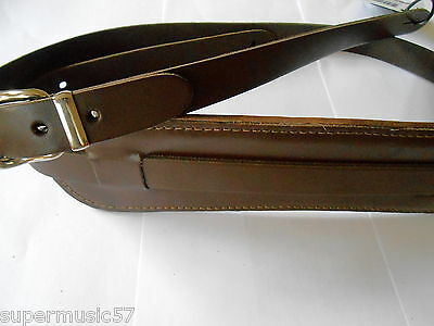 $ CDN38.01 • Buy Uk Made Brown Padded Real Leather Electric/acoustic Vintage Style Guitar Strap
