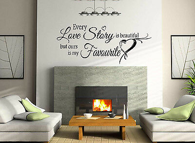Love Story Art Wall Quote Stickers Wall Decals Living Room/Bedroom. • 17.99£