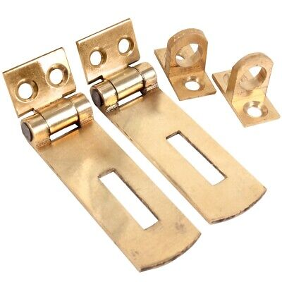 £3.20 • Buy BRASS HASP & STAPLE 2x Quality Solid Small 50mm Door Cupboard Cabinet Strap UK