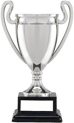 £7.95 • Buy Silver Euro Style Trophy Cup, Black Block Base, 3 Sizes, FREE Engraving