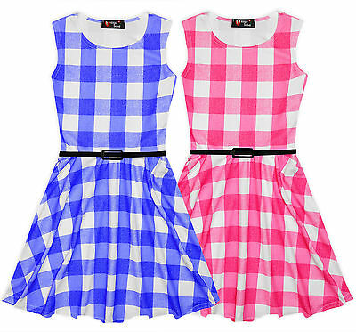 Girls Check Dress Kids Summer Skater Party Dresses Pink Blue New Age 7-13 Years • 7.99£