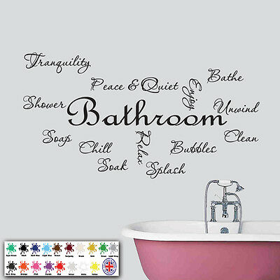 Bathroom Wall Art - Vinyl Sticker - Text Quote Montage - Decals Stickers • 10.98£
