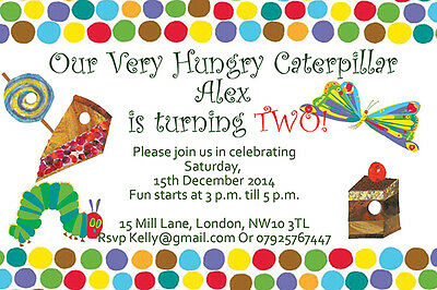 10 X Personalised Kids Birthday Invitations/Thank You Cards HUNGRY CATERPILLAR • 5.49£