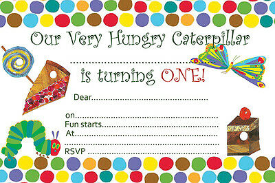 £4.99 • Buy 10 X Children Birthday Party Invitations And Thank You Cards Hungry Caterpillar