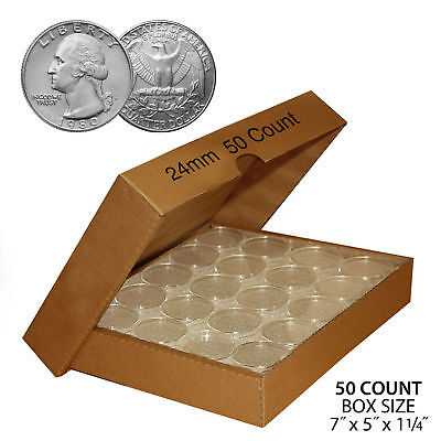 $ CDN20.50 • Buy 50 QUARTER Direct-Fit Airtight 24mm Coin Capsule Holder QUARTERS QTY: 50 W/ BOX