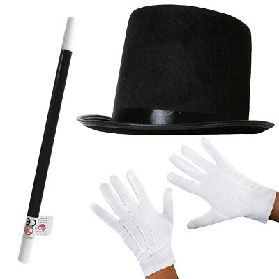 Adult Top Hat White Gloves And Wand Magician Fancy Dress Costume Set Magic Man • 4.99£
