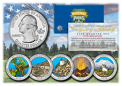 $ CDN16.39 • Buy 2012 America The Beautiful COLORIZED Quarters U.S. Parks 5-Coin Set W/Capsules