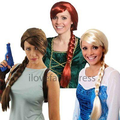 £6.99 • Buy Ladies Plait Wig Brown Red Blonde Choose Colour Character Fancy Dress Accessory