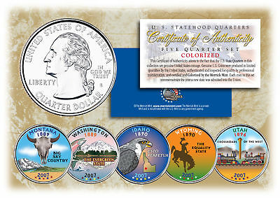 $ CDN16.39 • Buy 2007 US Statehood Quarters COLORIZED Legal Tender 5-Coin Complete Set W/Capsules