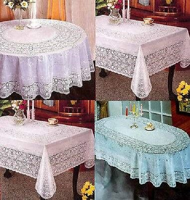 Pvc 100% Vinyl White Embossed Lace Tablecloth Table Cover Oval Rectangle Square • 7.49£