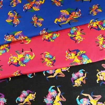 Sale The Entertainer Clowns Circus Joker 100% Cotton Fabric 135cm Wide • 2.75£
