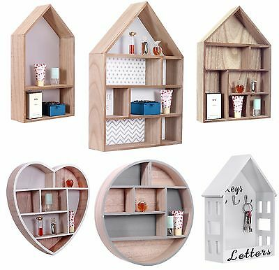 Storage Floating Unit Wall Cube Key Letter Rack Display Wooden Shelf House Shape • 18.95£