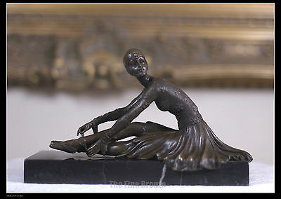 Signed: D.H.Chiparus Bronze Art Deco Dancer Statue  'TAMARA-after The Dance' • 214.83£