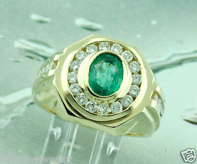 $2695 • Buy 4.00ct 14k Solid Yellow Gold Men's Natural Diamond & Oval Colombian Emerald Ring