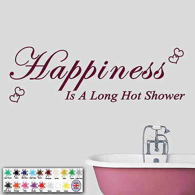 Bathroom Wall Art Sticker - Vinyl Quote Decal - Happiness Is A Long Hot Shower • 5.49£
