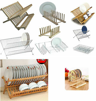 Foldable Dish Drainer Wooden Metal Chrome Wire Dinner Plates Rack Stand Holder  • 9.95£