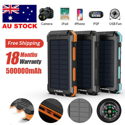 AU32.99 • Buy 500000mAh Portable Solar Panel Dual USB External Battery Power Bank Pack Charger