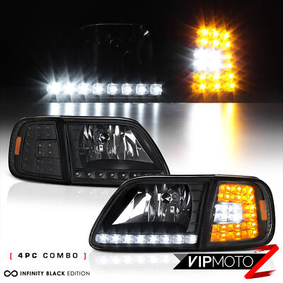 $101.41 • Buy For FORD 97-03 F150 Black 4PC Headlight Corner Signal Lamp W/BRIGHT LED SMD Bulb