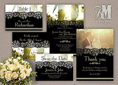 Personalised Wedding Evening Day Invitations Black Lace Effect • 10.99£