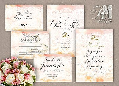 Personalised Wedding Day Evening Invitations Lace Effect  • 10.99£