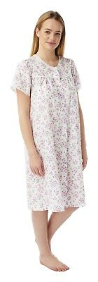 AU23.72 • Buy Ladies Cotton Mix Button Front Opening  Dressing Gown  Nighties Short Sleeves