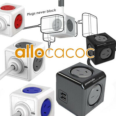AU38.99 • Buy Allocacoc Power Cube Powercube Board With 0-2 USB 2-5 Outlet 0-3M Cable Black