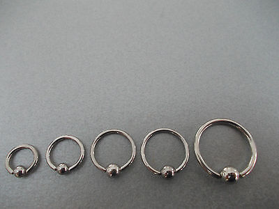 1 X Ball Captive Ring, BCR, Sizes 6mm,8mm,10mm,12mm,14mm,0.8mm,1.0mm,1.2mm/1.6mm • 2.50£