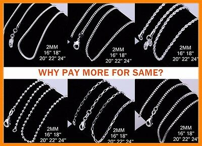 AU3.45 • Buy Wholesale 925 Sterling Silver Filled 2MM Necklace Chains For Pendants 16 - 24